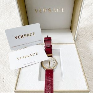 Versace V Circle Red and Gold Watch